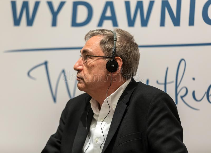 Meeting with the Turkish writer, Nobel Prize laureate Orhan Pamuk in Krakow on the occasion of the 65th anniversary of the Literar royalty free stock photography