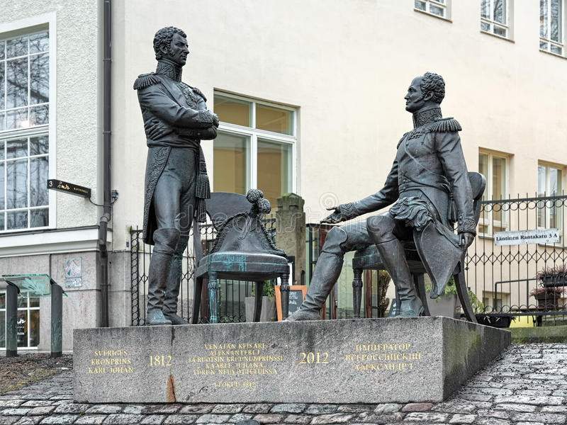 Meeting in Turku monument, Finland stock photos