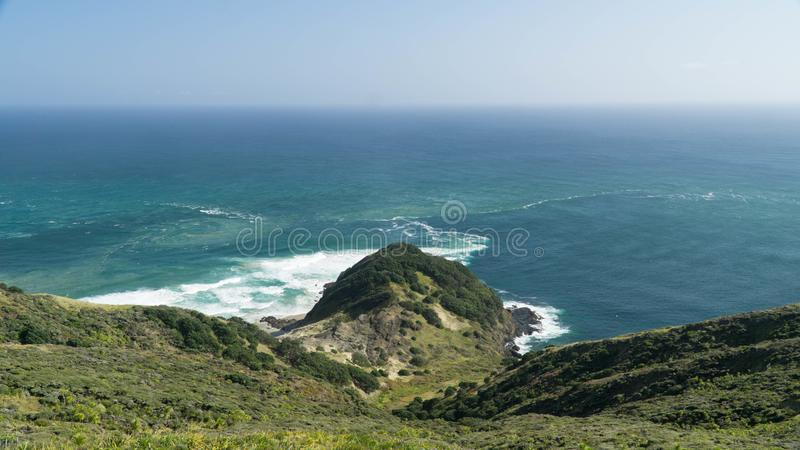 The meeting of two bodies of water - the Tasman Sea and the Pacific Ocean, New Zealand. The meeting of two bodies of water - the Tasman Sea and the Pacific Ocean royalty free stock image