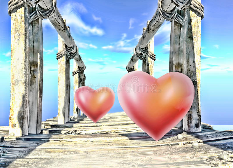Meeting of two hearts. Meeting of two hearts on the bridge royalty free illustration