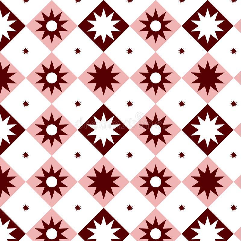 Meetkunde minimalistic patroon met vierkanten en cijfer Ceramisch roze en wit cijfer en naadloos vierkantenpatroon Vector patroon vector illustratie
