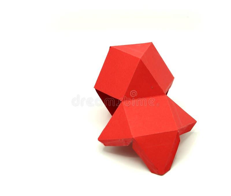 Meetkunde netto van Cuboctahedron dimensionale vouwbare vorm 2 om een 3d vorm of een vast lichaam te vormen Geopende 3D Cijfers royalty-vrije stock fotografie
