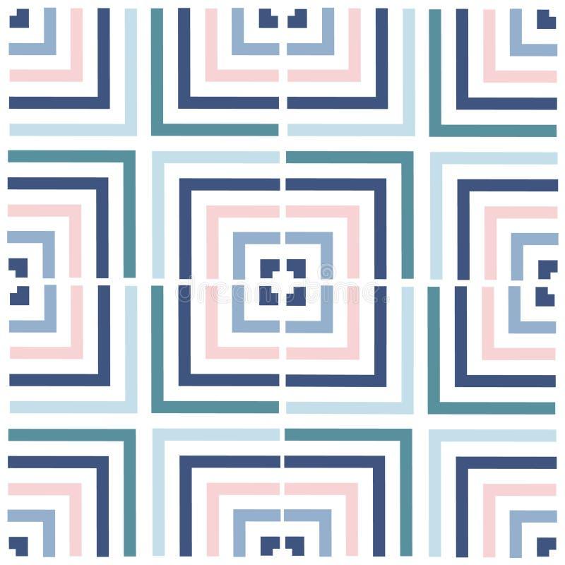 Meetkunde vierkant vectorpatroon Etnisch naadloos ornament Abstracte achtergrond - kleurrijke lijnen stock illustratie