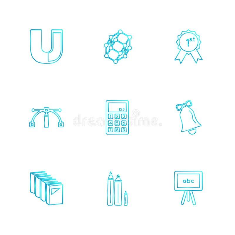 meetkunde, wetenschap, onderwijs, studies, eps pictogrammen geplaatst vector royalty-vrije illustratie