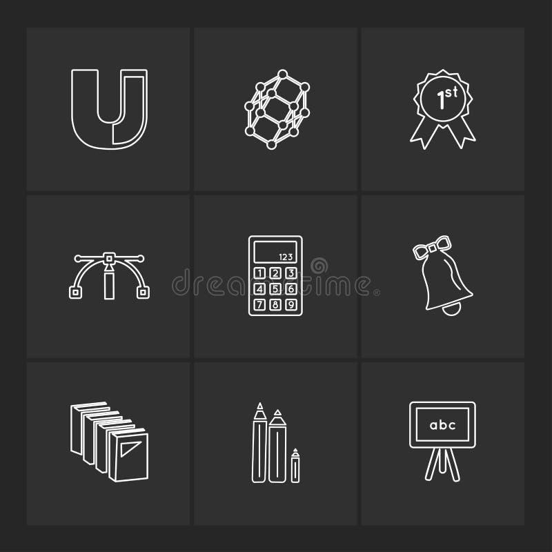 meetkunde, wetenschap, onderwijs, studies, eps pictogrammen geplaatst vector vector illustratie