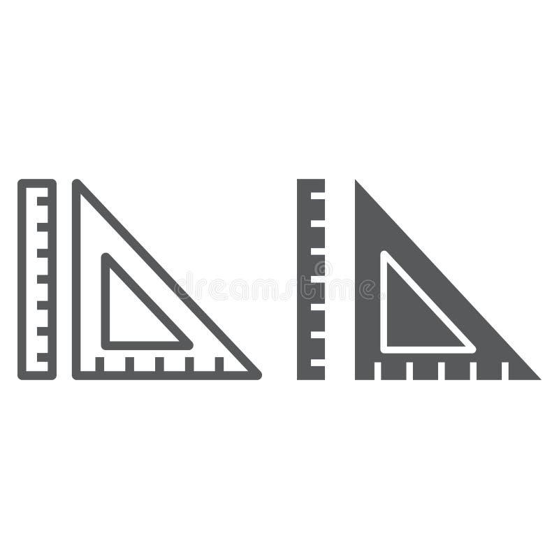 Meetkundelijn en glyph pictogram, school en onderwijs, de vectorafbeeldingen van het heersersteken, een lineair patroon op een wi royalty-vrije illustratie