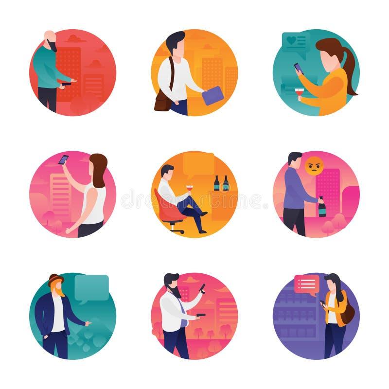 Meetup ikony ustawiać ilustracja wektor