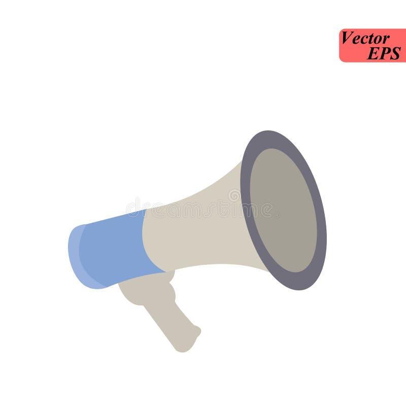 Megáfono aislado en fondo Icono del megáfono Medios sociales, concepto digital del márketing Ilustración del vector Diseño plano  ilustración del vector