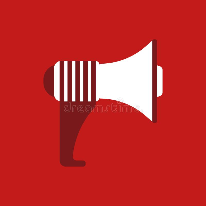 Megáfono aislado en fondo Icono del megáfono Medios sociales, concepto digital del márketing Ilustración del vector Diseño plano  libre illustration