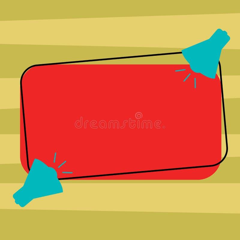 Megáfono aislado espacio vacío del material promocional dos de los vales de los carteles de la copia de la plantilla del concepto ilustración del vector