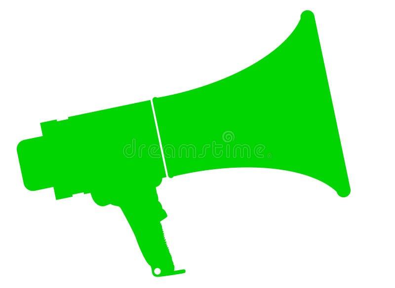 Megáfono aislado verde stock de ilustración