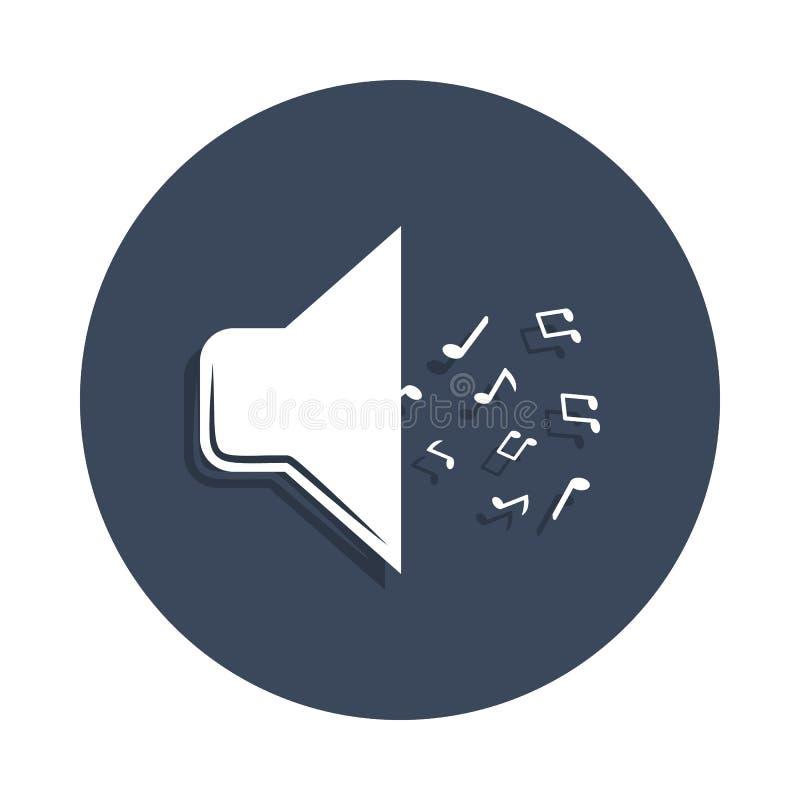megáfono con el icono de las notas en estilo de la insignia Uno del icono de la colección de música se puede utilizar para UI, UX ilustración del vector