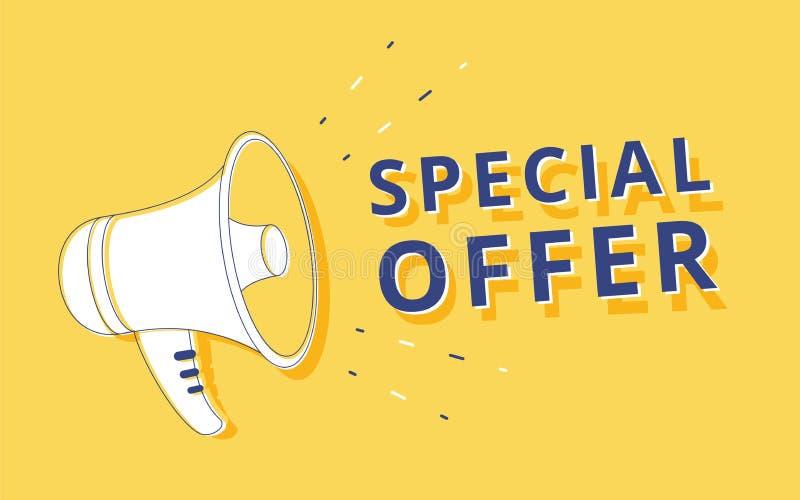 Megáfono con la burbuja del discurso de la oferta especial altavoz Bandera para el negocio, márketing y ejemplo de la publicidad ilustración del vector