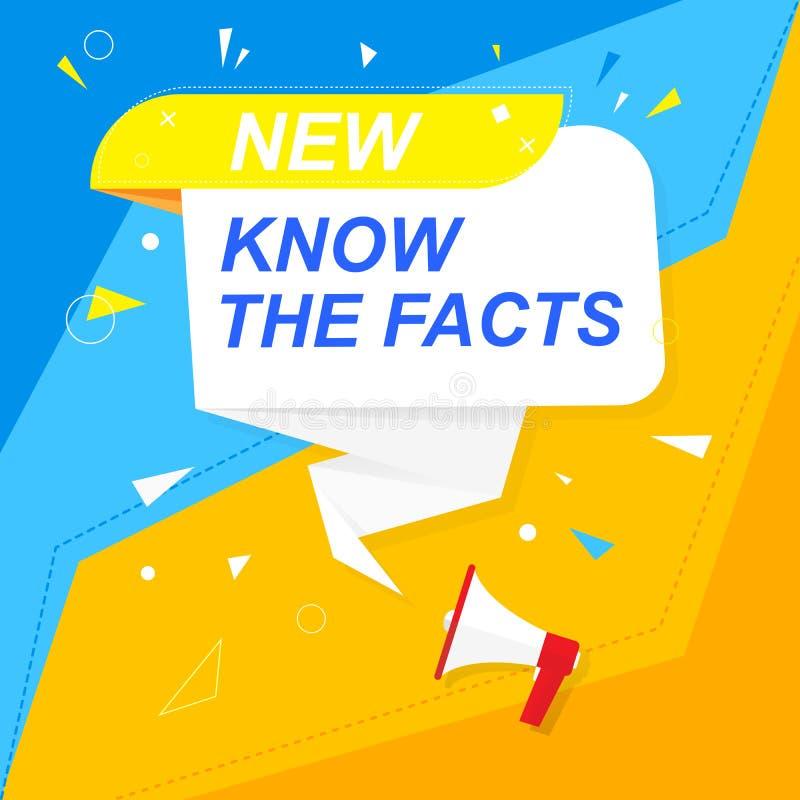 Megáfono con la burbuja y la inscripción usted sabía Colores coloridos altavoz Bandera para el negocio, el m?rketing y la publici ilustración del vector