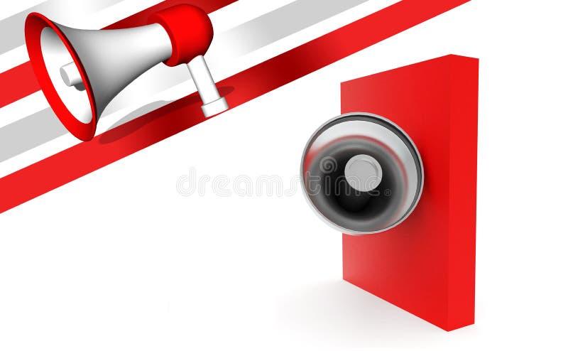megáfono 3d sobre la caja roja ilustración del vector