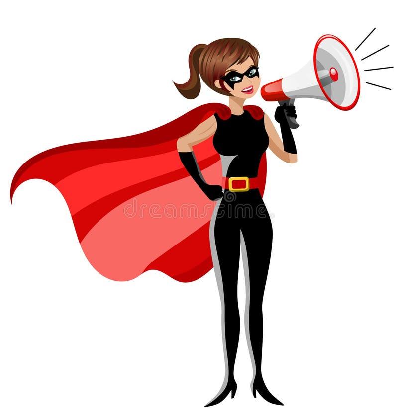 Megáfono de discurso permanente de la mujer del super héroe aislado ilustración del vector