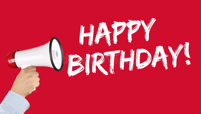 Megáfono de la celebración de los saludos del feliz cumpleaños fotografía de archivo libre de regalías