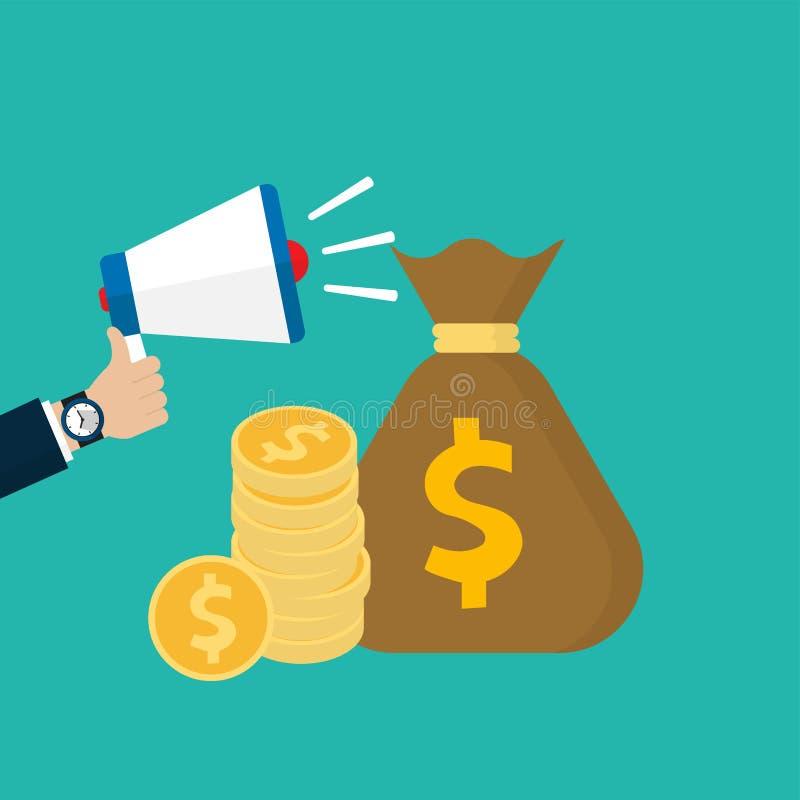 Megáfono de la tenencia de la mano con la pila de bolso de la moneda y del dinero ilustración del vector