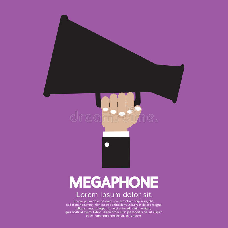 Megáfono a disposición stock de ilustración
