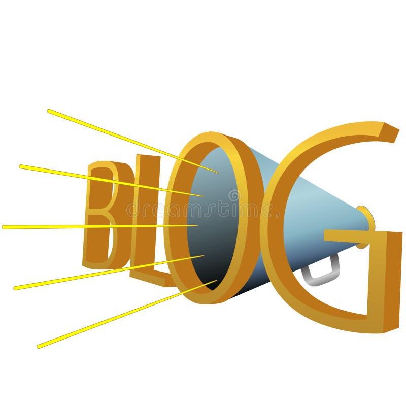 Megáfono grande del BLOG 3D para blogging de alta potencia stock de ilustración