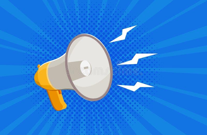 Megáfono, megáfono Noticias, bandera de la atención Ilustración del vector stock de ilustración