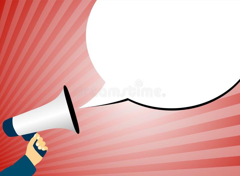 Megáfono o megáfono de la tenencia de la mano contra fondo rojo con los rayos de la burbuja de la luz y del discurso libre illustration