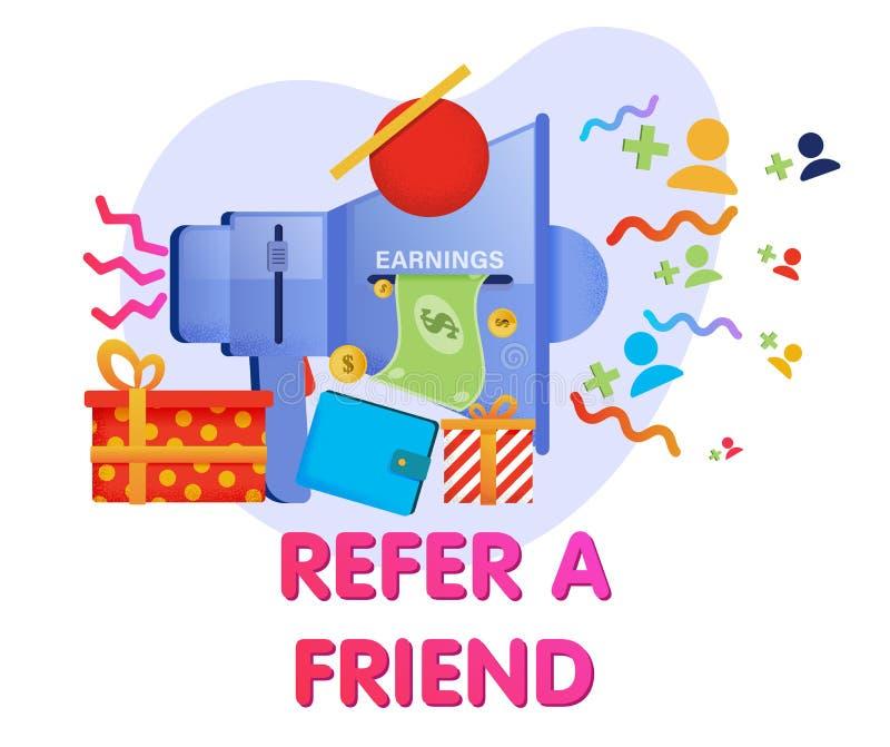 Megáfono que llama a amigos para unirse al programa de la remisión libre illustration