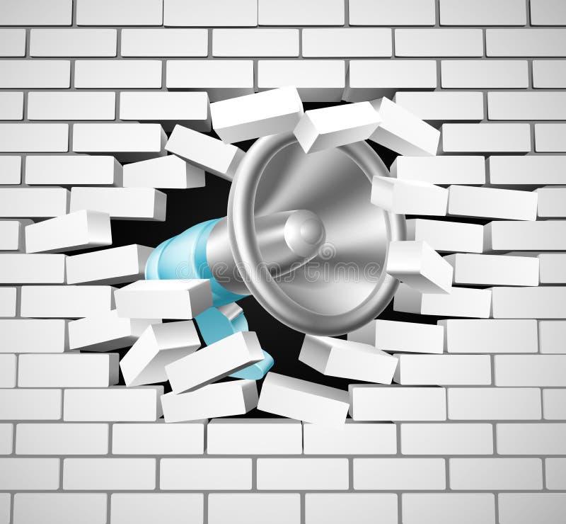Megáfono que rompe la pared de ladrillo stock de ilustración