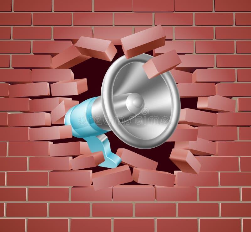 Megáfono que se rompe a través de la pared de ladrillo stock de ilustración