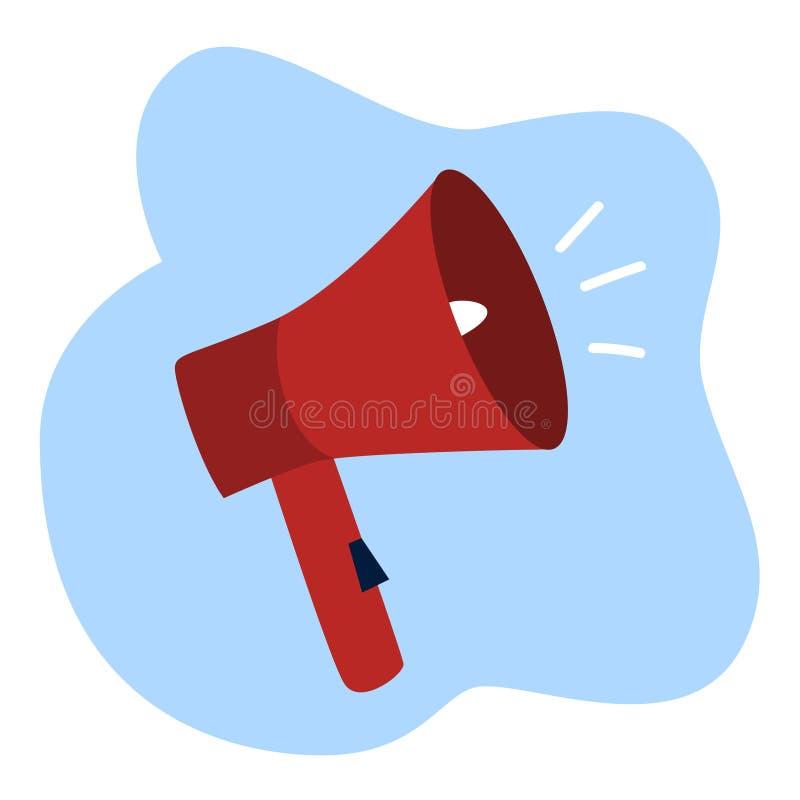Megáfono rojo que hace el illsutration del anuncio público o de la promoción stock de ilustración