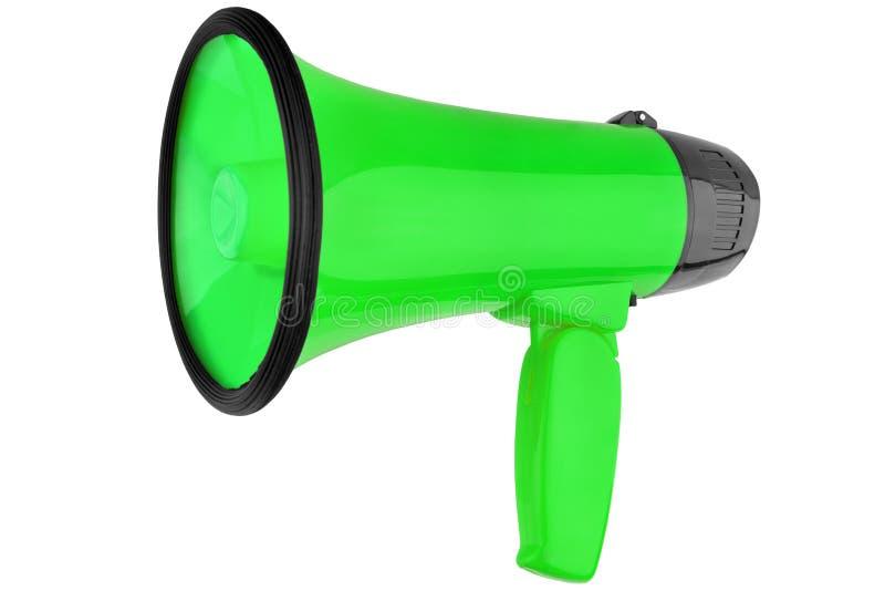 Megáfono verde en el fondo blanco aislado cerca para arriba, el diseño del altavoz de la mano, el megáfono o el ejemplo de la tro imágenes de archivo libres de regalías