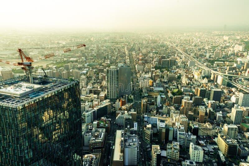 Megápolis de Nagoya de la opinión del panorama del horizonte del cuadrado de Midland imágenes de archivo libres de regalías