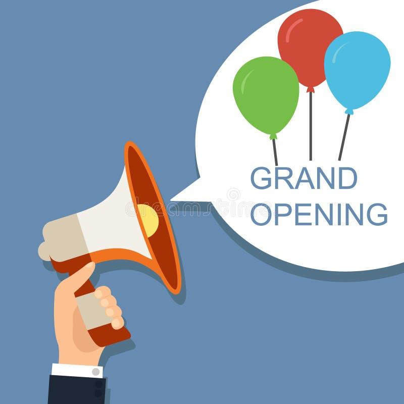 Meg?fono con la burbuja y los globos del discurso Diseño de concepto de la gran inauguración stock de ilustración