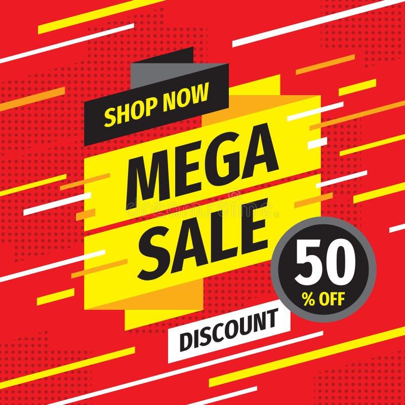 Mega baner för försäljningsbegreppsbefordran Rabatt 50% av den idérika affischen Shoppa nu orienteringen vektor illustrationer