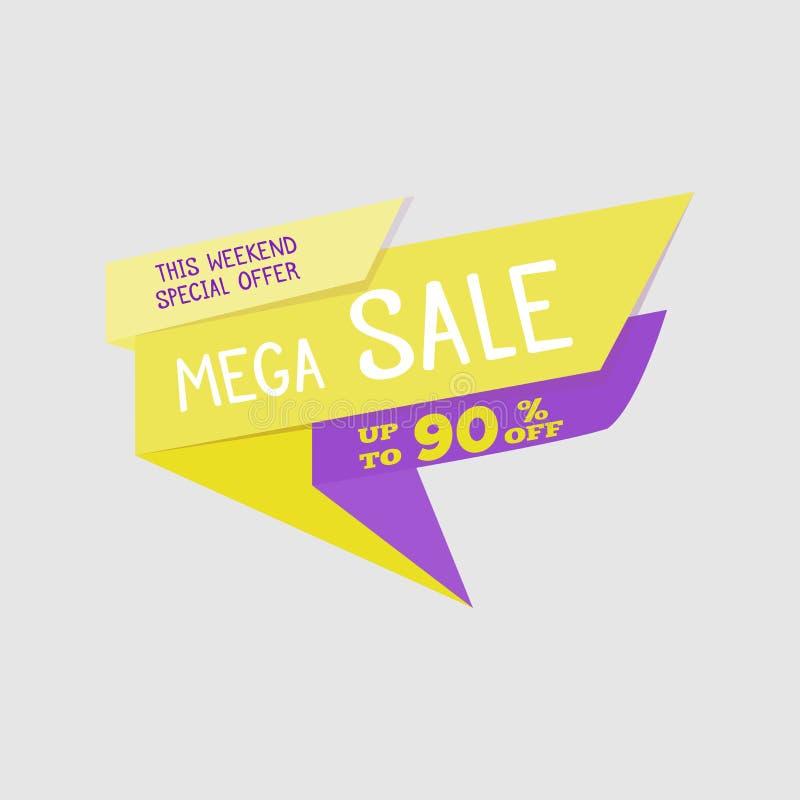 Mega baner Sale för specialt erbjudande, upp till 90% av också vektor för coreldrawillustration Färgrikt sammanlagt försäljningst stock illustrationer