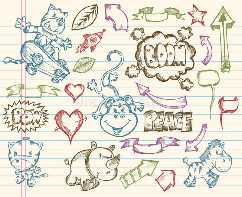 Mega Big Sketch Doodle Vector royalty free illustration