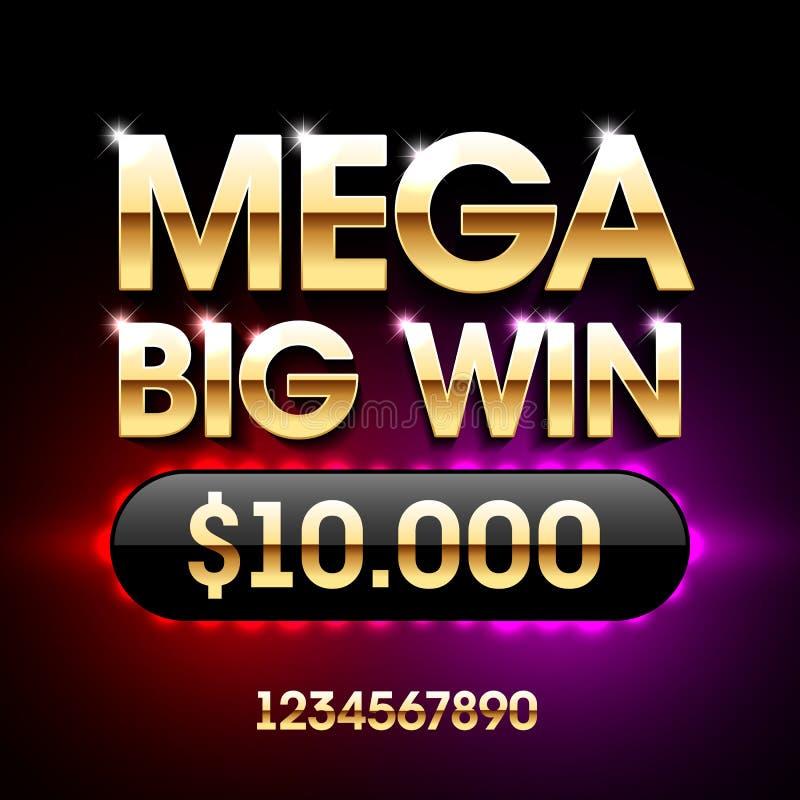 Mega Big Win banner. Mega Big Win casino banner with numbers royalty free illustration
