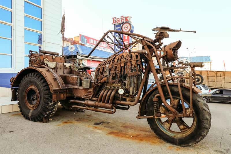 Mega-bike sculpture on motorbike area. Big rusty postapacalyptic motorcycle on highway M4 Don. stock photography