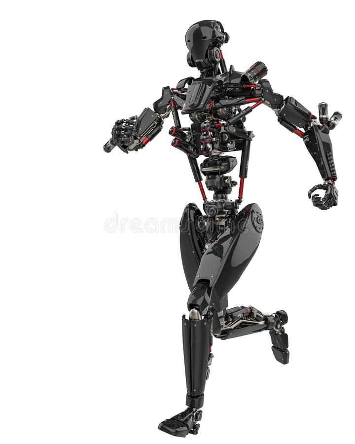 Mega black robot super drone in a white background. This super robot will put some fun in yours creations, 3d illustration stock illustration