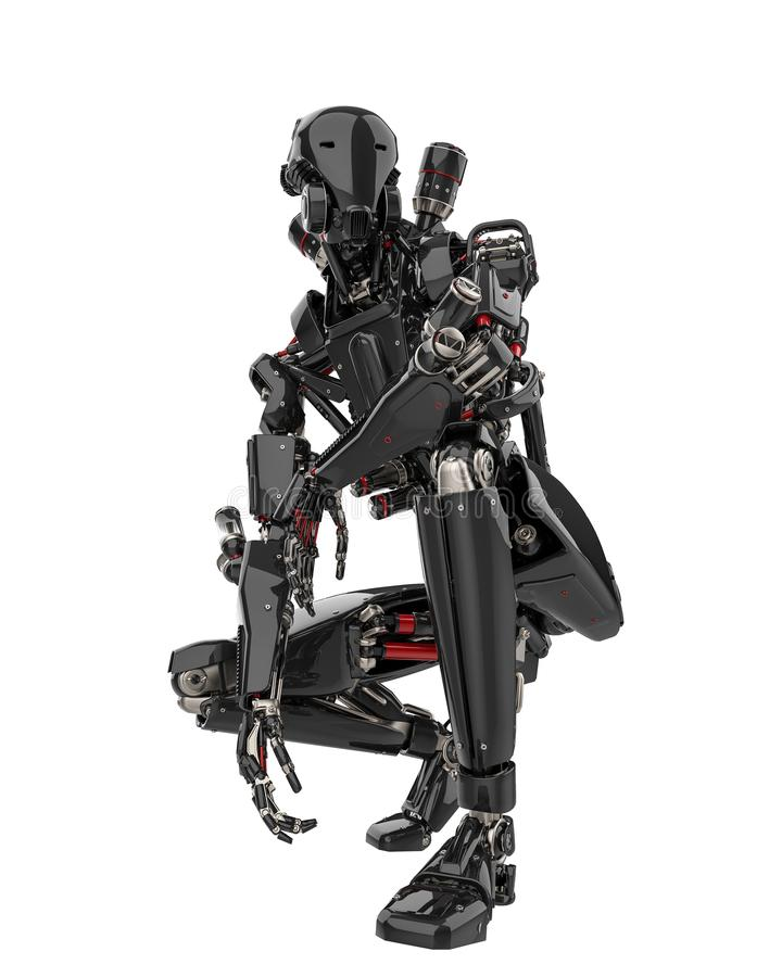 Mega black robot super drone in a white background. This super robot will put some fun in yours creations, 3d illustration vector illustration