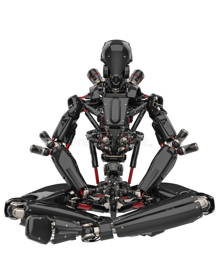 Mega black robot super drone in a white background royalty free illustration
