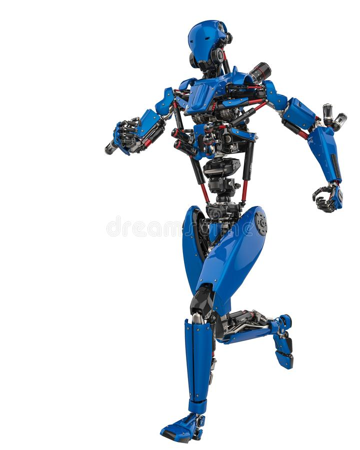 Mega blue robot super drone in a white background. This super robot will put some fun in yours creations, 3d illustration royalty free illustration
