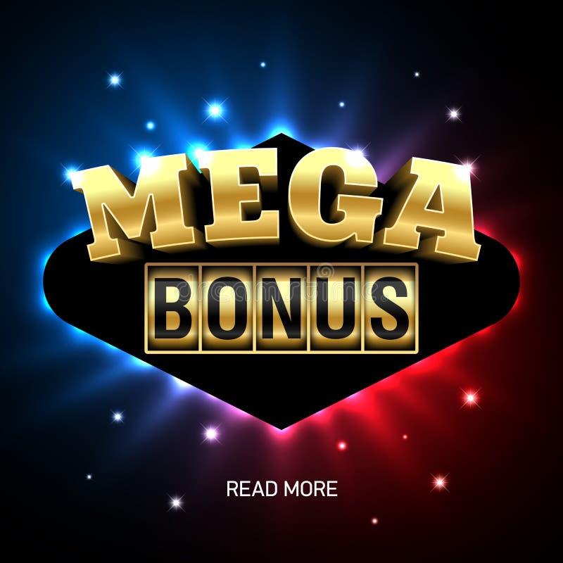 Mega Bonus casino banner. Mega Bonus bright casino banner royalty free illustration
