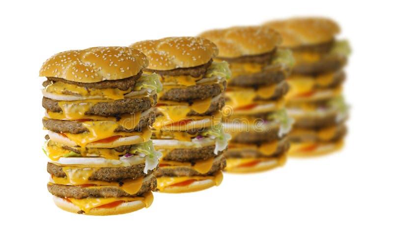Mega cheeseburgers royalty free stock images