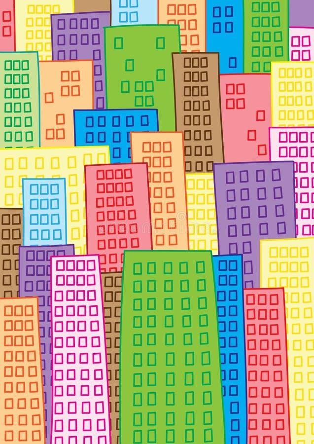 Mega city. High density overcrowded mega city illustration stock illustration