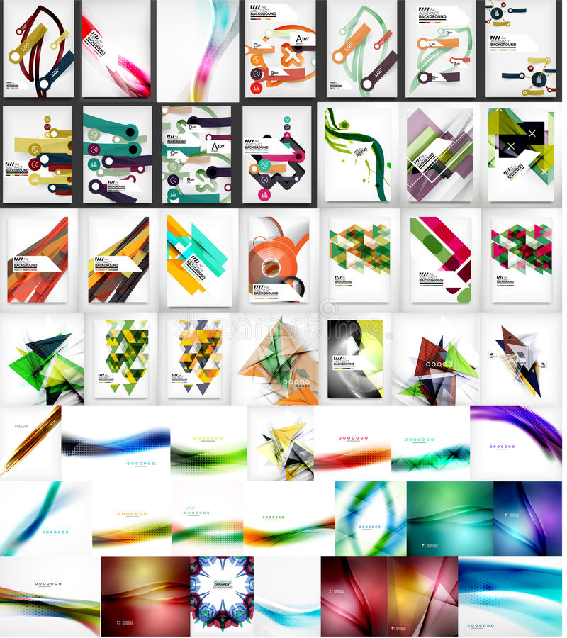 Mega collection of business corporate backgrounds. Flyer, brochure design template stock illustration