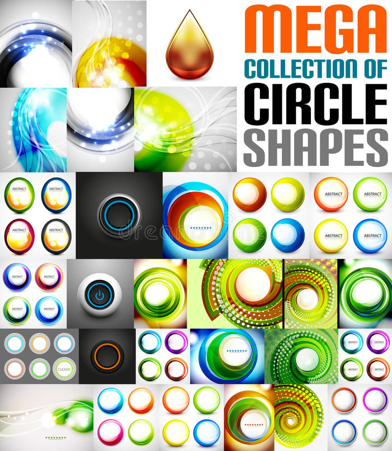 Mega collection of circle shaped compositions. Backgrounds, icons, swirl symbols, rotation designs, buttons vector illustration