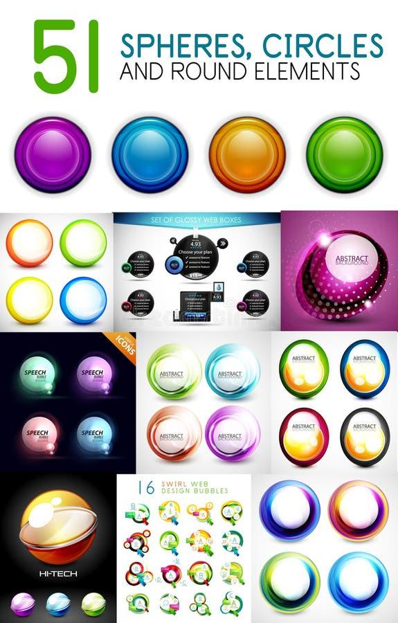 Mega collection of circles, spheres, round swirls design elements vector illustration