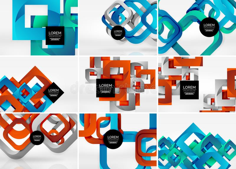 Mega collection of 3d form vector abstract backgrounds with cut style 3d geometric forms - lines, squares, rectangles stock illustration
