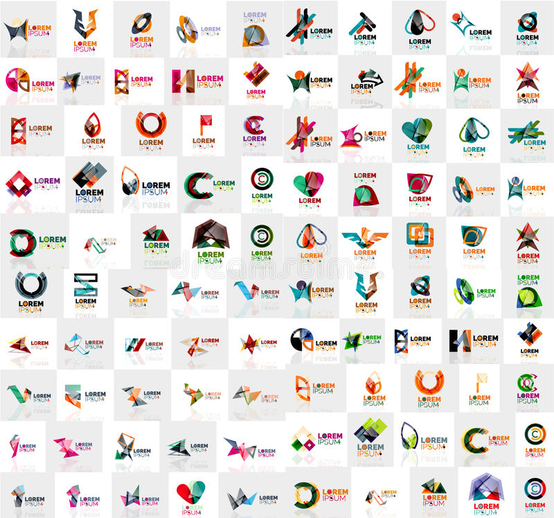 Mega collection of geometrical abstract logo templates, origami paper style business icons with sample text. Vector stock illustration